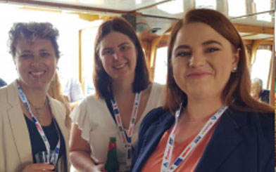 Lucy McClean (AMEC) with consultants Tamara Bowen and Tamara Woods at the SMEDG cruise.